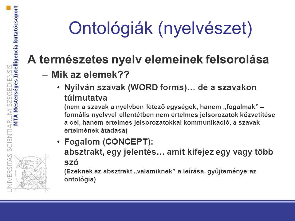 Ontológiák (nyelvészet) A természetes nyelv elemeinek felsorolása –Mik az elemek .