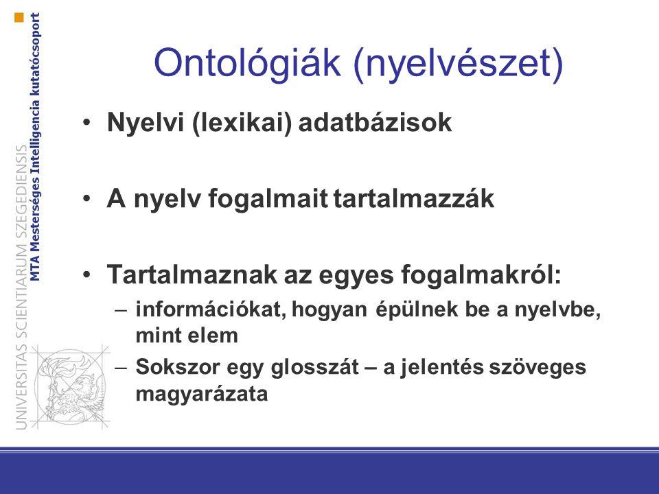 Ontológiák (nyelvészet) Nyelvi (lexikai) adatbázisok A nyelv fogalmait tartalmazzák Tartalmaznak az egyes fogalmakról: –információkat, hogyan épülnek be a nyelvbe, mint elem –Sokszor egy glosszát – a jelentés szöveges magyarázata