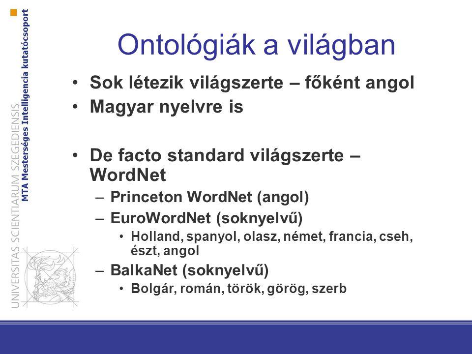 Ontológiák a világban Sok létezik világszerte – főként angol Magyar nyelvre is De facto standard világszerte – WordNet –Princeton WordNet (angol) –EuroWordNet (soknyelvű) Holland, spanyol, olasz, német, francia, cseh, észt, angol –BalkaNet (soknyelvű) Bolgár, román, török, görög, szerb