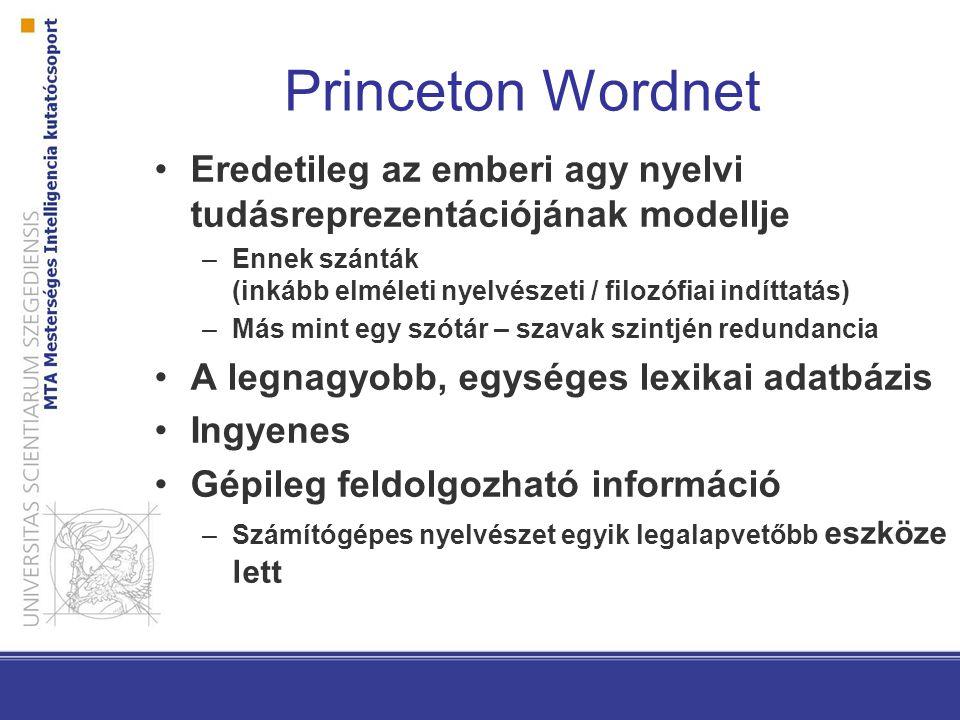 Princeton Wordnet Eredetileg az emberi agy nyelvi tudásreprezentációjának modellje –Ennek szánták (inkább elméleti nyelvészeti / filozófiai indíttatás) –Más mint egy szótár – szavak szintjén redundancia A legnagyobb, egységes lexikai adatbázis Ingyenes Gépileg feldolgozható információ –Számítógépes nyelvészet egyik legalapvetőbb eszköze lett