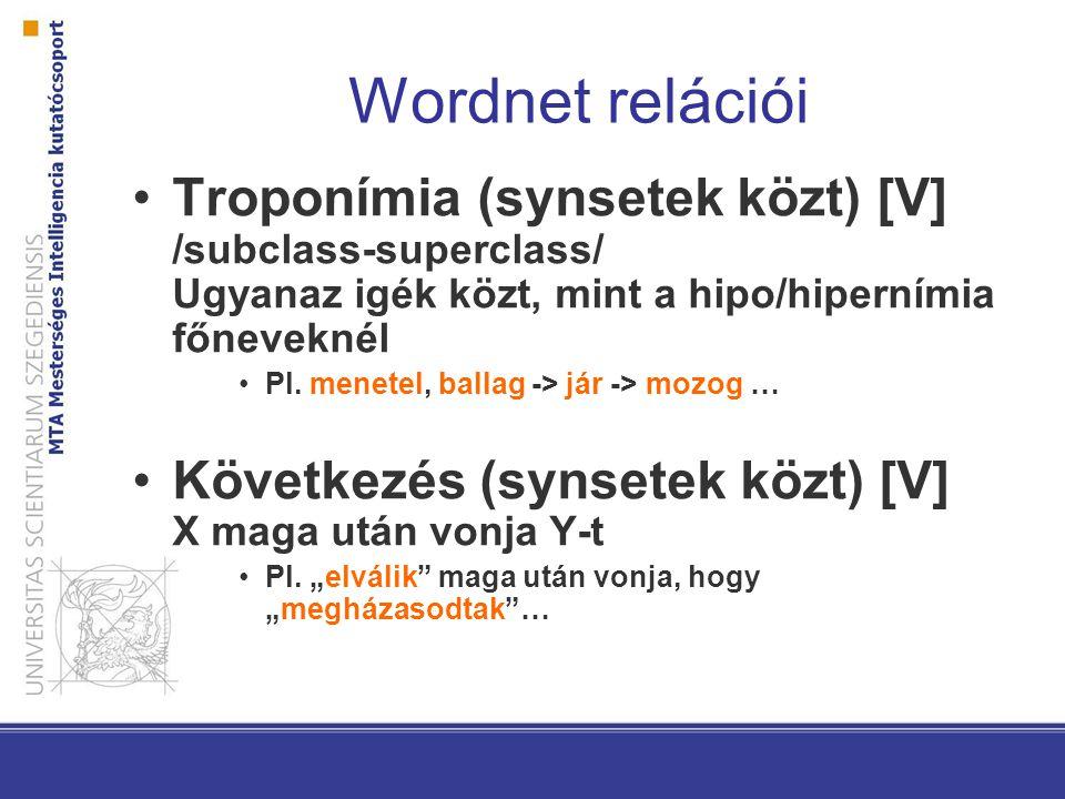 Wordnet relációi Troponímia (synsetek közt) [V] /subclass-superclass/ Ugyanaz igék közt, mint a hipo/hipernímia főneveknél Pl.