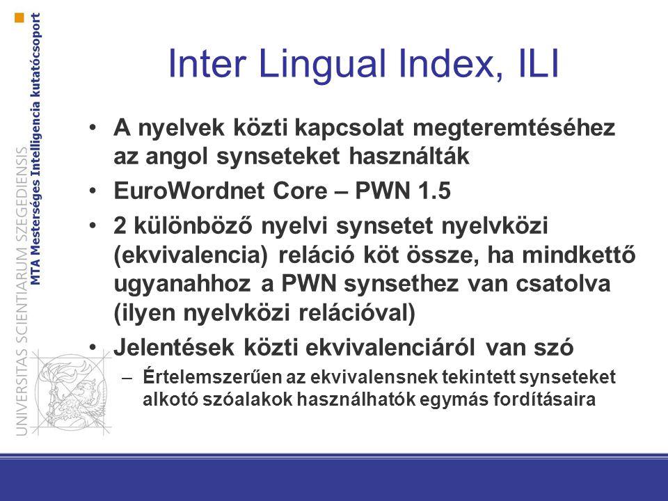 Inter Lingual Index, ILI A nyelvek közti kapcsolat megteremtéséhez az angol synseteket használták EuroWordnet Core – PWN 1.5 2 különböző nyelvi synsetet nyelvközi (ekvivalencia) reláció köt össze, ha mindkettő ugyanahhoz a PWN synsethez van csatolva (ilyen nyelvközi relációval) Jelentések közti ekvivalenciáról van szó –Értelemszerűen az ekvivalensnek tekintett synseteket alkotó szóalakok használhatók egymás fordításaira