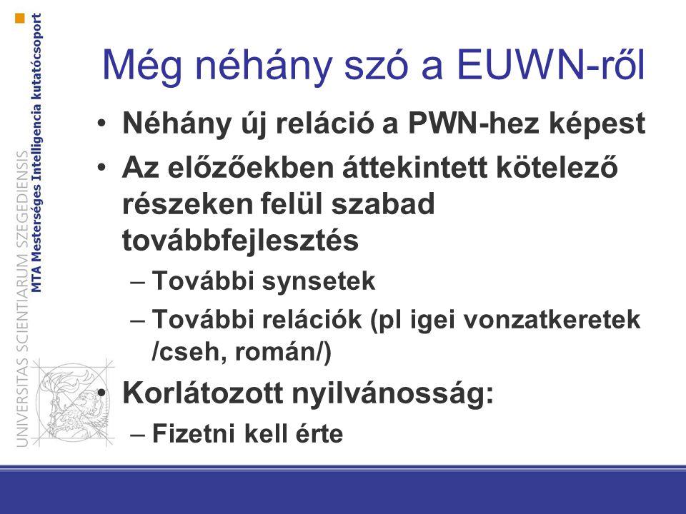Még néhány szó a EUWN-ről Néhány új reláció a PWN-hez képest Az előzőekben áttekintett kötelező részeken felül szabad továbbfejlesztés –További synsetek –További relációk (pl igei vonzatkeretek /cseh, román/) Korlátozott nyilvánosság: –Fizetni kell érte