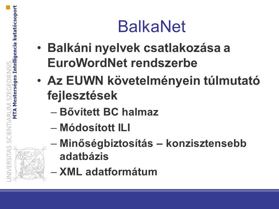 BalkaNet Balkáni nyelvek csatlakozása a EuroWordNet rendszerbe Az EUWN követelményein túlmutató fejlesztések –Bővített BC halmaz –Módosított ILI –Minőségbiztosítás – konzisztensebb adatbázis –XML adatformátum
