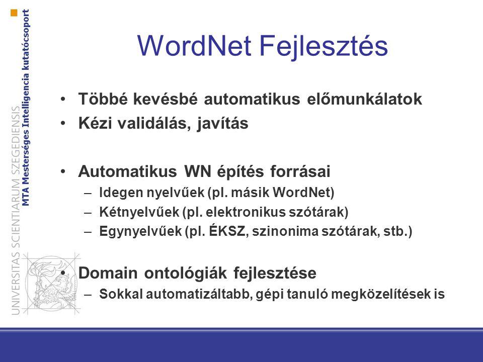 WordNet Fejlesztés Többé kevésbé automatikus előmunkálatok Kézi validálás, javítás Automatikus WN építés forrásai –Idegen nyelvűek (pl.