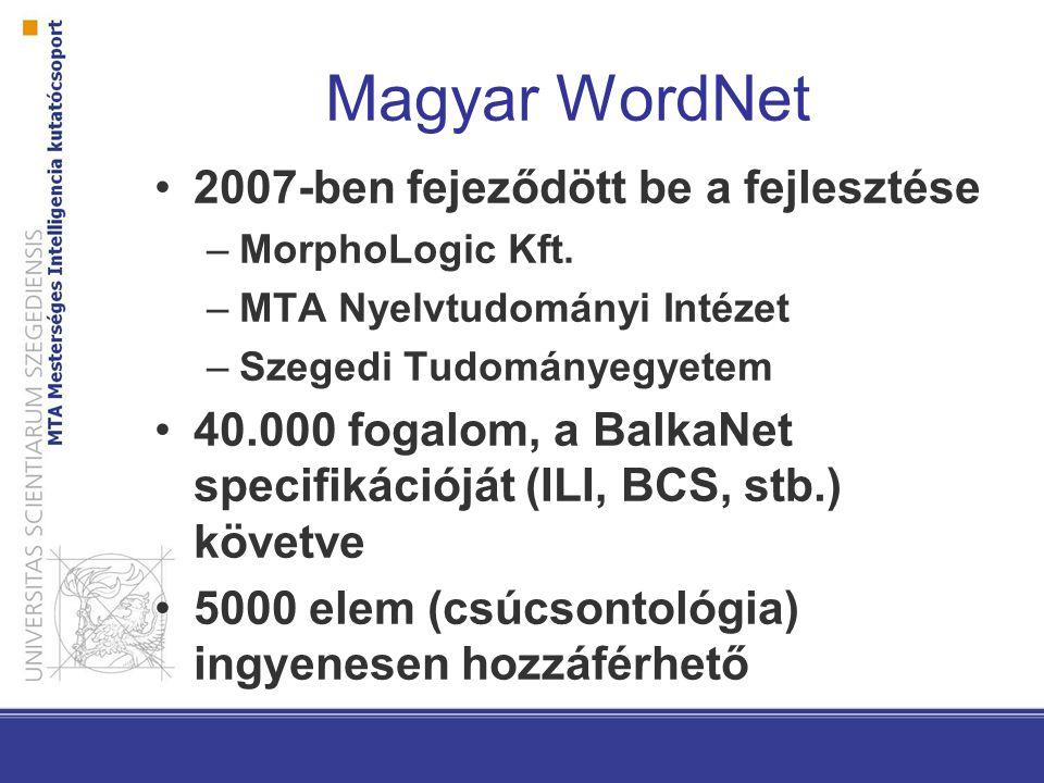 Magyar WordNet 2007-ben fejeződött be a fejlesztése –MorphoLogic Kft.