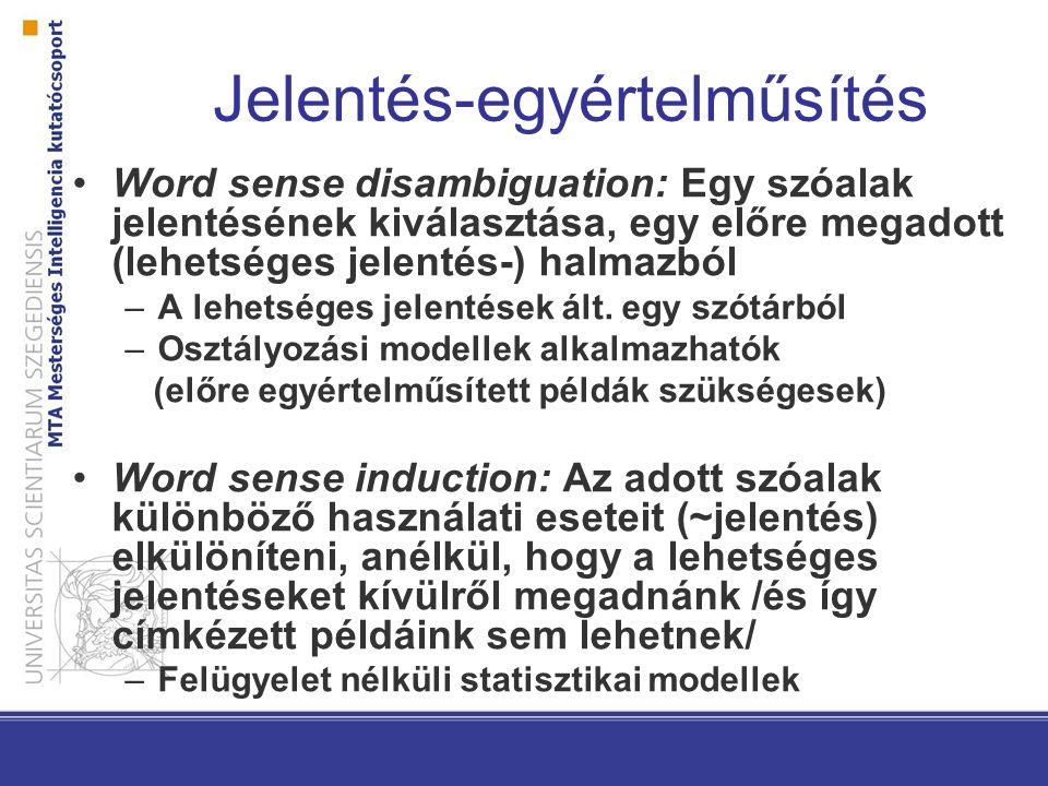 Jelentés-egyértelműsítés Word sense disambiguation: Egy szóalak jelentésének kiválasztása, egy előre megadott (lehetséges jelentés-) halmazból –A lehetséges jelentések ált.