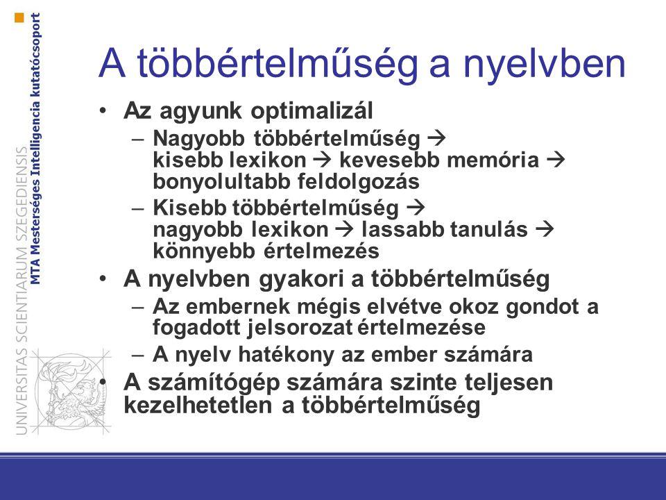 A többértelműség a nyelvben Az agyunk optimalizál –Nagyobb többértelműség  kisebb lexikon  kevesebb memória  bonyolultabb feldolgozás –Kisebb többértelműség  nagyobb lexikon  lassabb tanulás  könnyebb értelmezés A nyelvben gyakori a többértelműség –Az embernek mégis elvétve okoz gondot a fogadott jelsorozat értelmezése –A nyelv hatékony az ember számára A számítógép számára szinte teljesen kezelhetetlen a többértelműség
