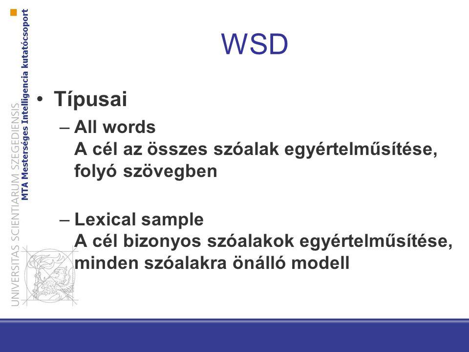 WSD Típusai –All words A cél az összes szóalak egyértelműsítése, folyó szövegben –Lexical sample A cél bizonyos szóalakok egyértelműsítése, minden szóalakra önálló modell