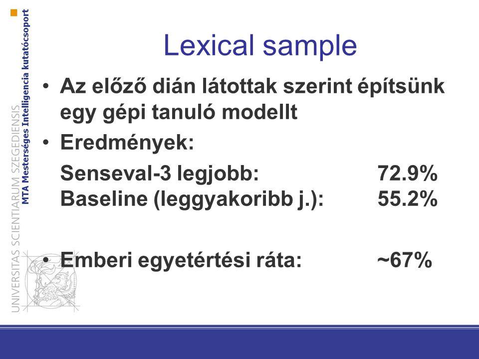 Lexical sample Az előző dián látottak szerint építsünk egy gépi tanuló modellt Eredmények: Senseval-3 legjobb:72.9% Baseline (leggyakoribb j.):55.2% Emberi egyetértési ráta: ~67%