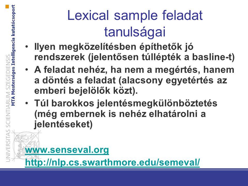Lexical sample feladat tanulságai Ilyen megközelítésben építhetők jó rendszerek (jelentősen túllépték a basline-t) A feladat nehéz, ha nem a megértés, hanem a döntés a feladat (alacsony egyetértés az emberi bejelölők közt).