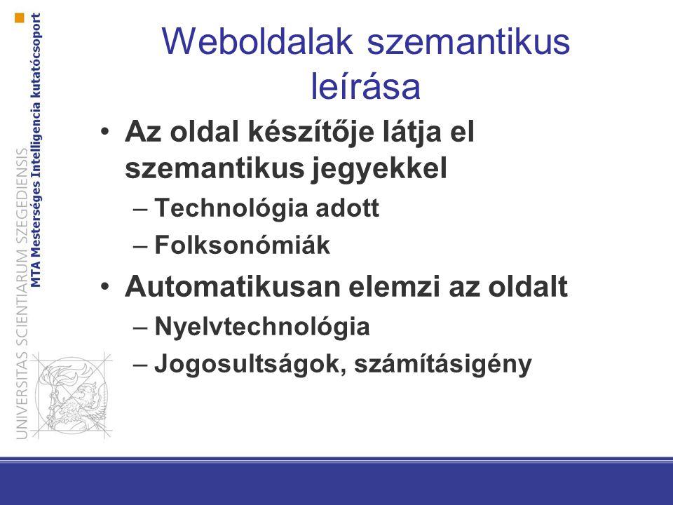 Weboldalak szemantikus leírása Az oldal készítője látja el szemantikus jegyekkel –Technológia adott –Folksonómiák Automatikusan elemzi az oldalt –Nyelvtechnológia –Jogosultságok, számításigény