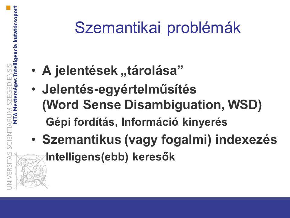 """Szemantikai problémák A jelentések """"tárolása Jelentés-egyértelműsítés (Word Sense Disambiguation, WSD) Gépi fordítás, Információ kinyerés Szemantikus (vagy fogalmi) indexezés Intelligens(ebb) keresők"""