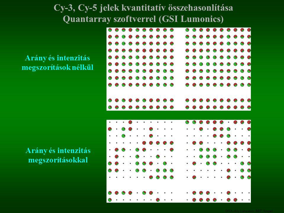 DNA-chip Laboratory, BRC, Szeged Cy-3, Cy-5 jelek kvantitatív összehasonlítása Quantarray szoftverrel (GSI Lumonics) Arány és intenzitás megszorítások