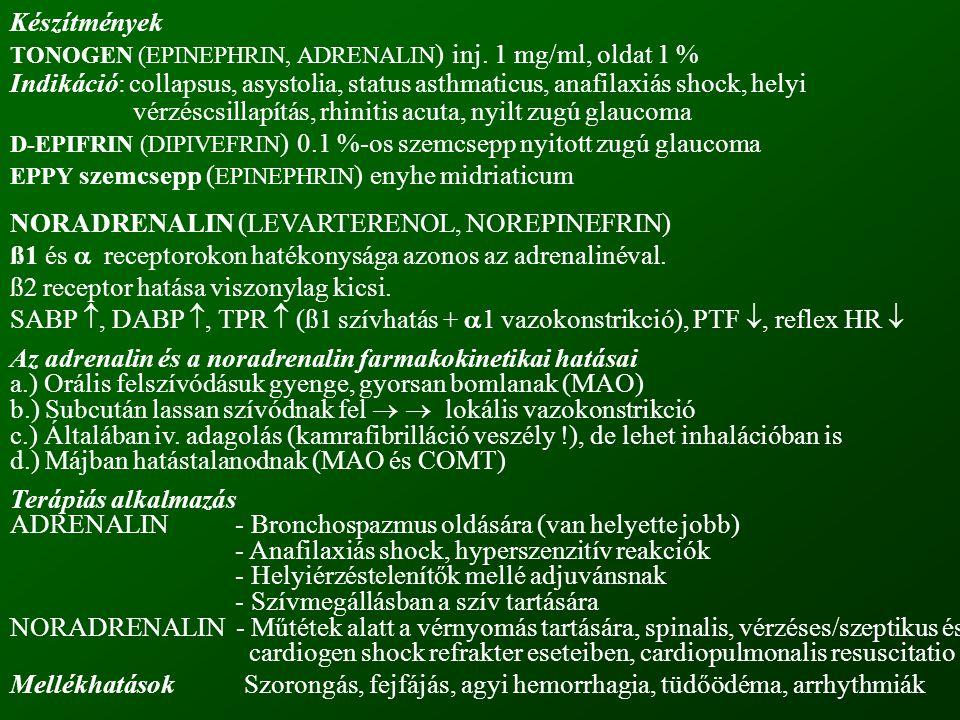 Készítmények TONOGEN (EPINEPHRIN, ADRENALIN ) inj. 1 mg/ml, oldat 1 % Indikáció: collapsus, asystolia, status asthmaticus, anafilaxiás shock, helyi vé