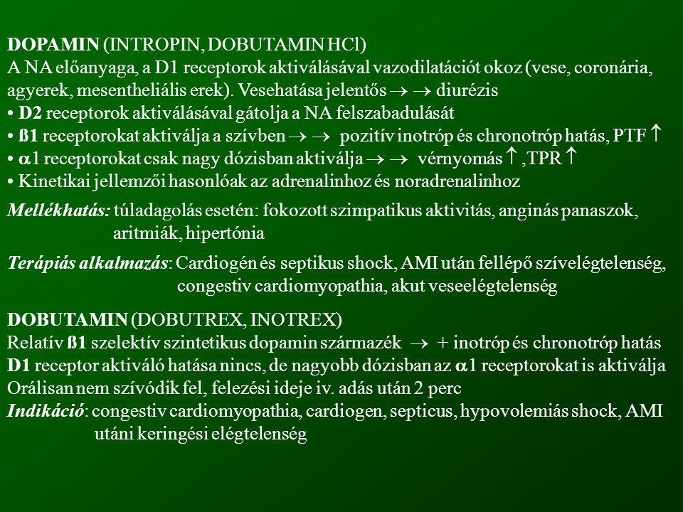 DOPAMIN (INTROPIN, DOBUTAMIN HCl) A NA előanyaga, a D1 receptorok aktiválásával vazodilatációt okoz (vese, coronária, agyerek, mesentheliális erek). V