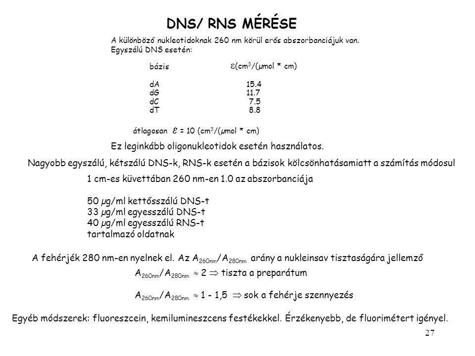 27 DNS/ RNS MÉRÉSE A különböző nukleotidoknak 260 nm körül erős abszorbanciájuk van. Egyszálú DNS esetén: bázis  (cm 3 /(µmol * cm) dA15.4 dG11.7 dC