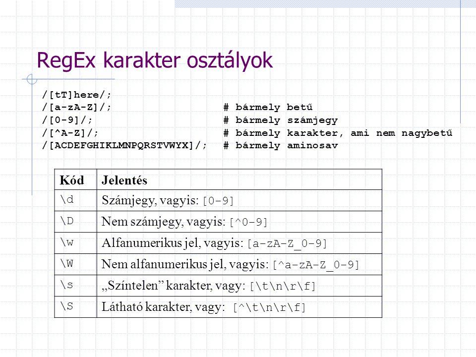 """RegEx karakter osztályok /[tT]here/; /[a-zA-Z]/; # bármely betű /[0-9]/; # bármely számjegy /[^A-Z]/;# bármely karakter, ami nem nagybetű /[ACDEFGHIKLMNPQRSTVWYX]/;# bármely aminosav KódJelentés \d Számjegy, vagyis: [0-9] \D Nem számjegy, vagyis: [^0-9] \w Alfanumerikus jel, vagyis: [a-zA-Z_0-9] \W Nem alfanumerikus jel, vagyis: [^a-zA-Z_0-9] \s """"Színtelen karakter, vagy: [\t\n\r\f] \S Látható karakter, vagy: [^\t\n\r\f]"""
