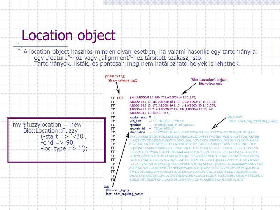 """Location object A location object hasznos minden olyan esetben, ha valami hasonlít egy tartományra: egy """"feature -höz vagy """"alignment -hez társított szakasz, stb."""