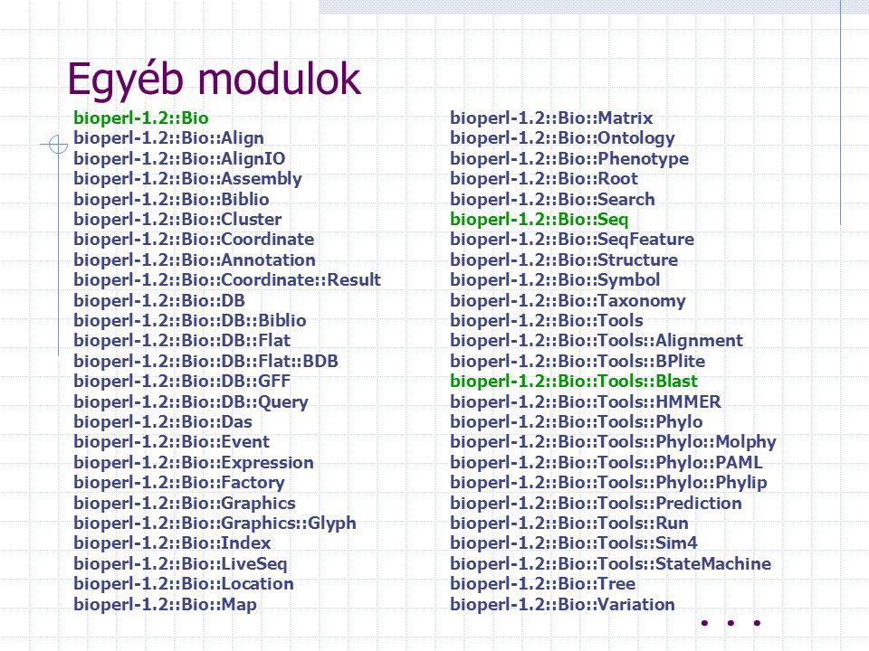 Egyéb modulok bioperl-1.2::Bio bioperl-1.2::Bio::Align bioperl-1.2::Bio::AlignIO bioperl-1.2::Bio::Assembly bioperl-1.2::Bio::Biblio bioperl-1.2::Bio: