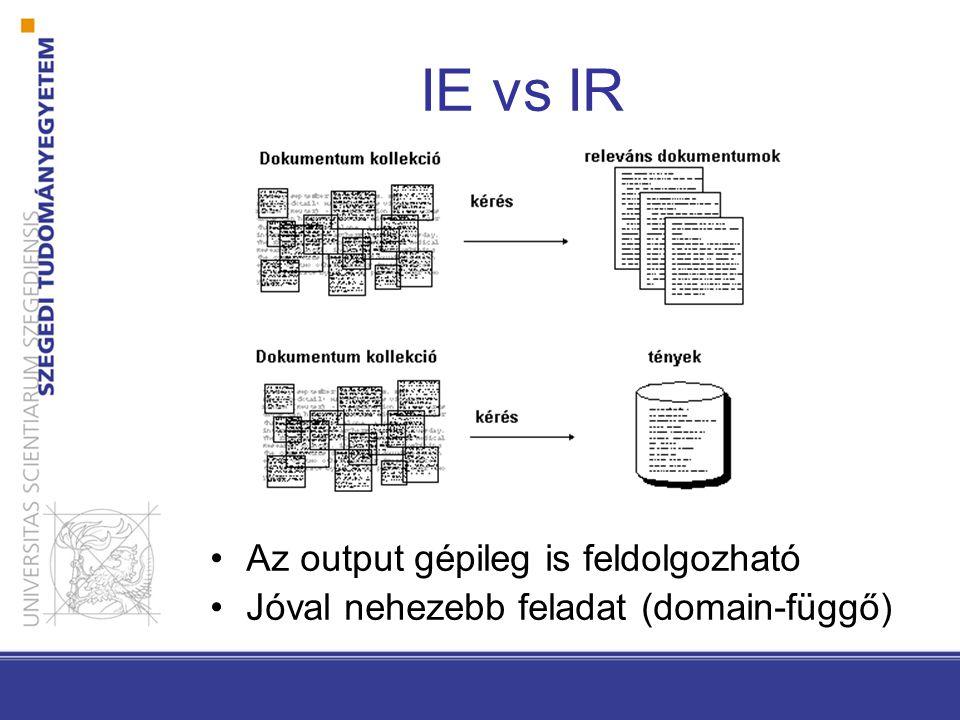 IE vs IR Az output gépileg is feldolgozható Jóval nehezebb feladat (domain-függő)