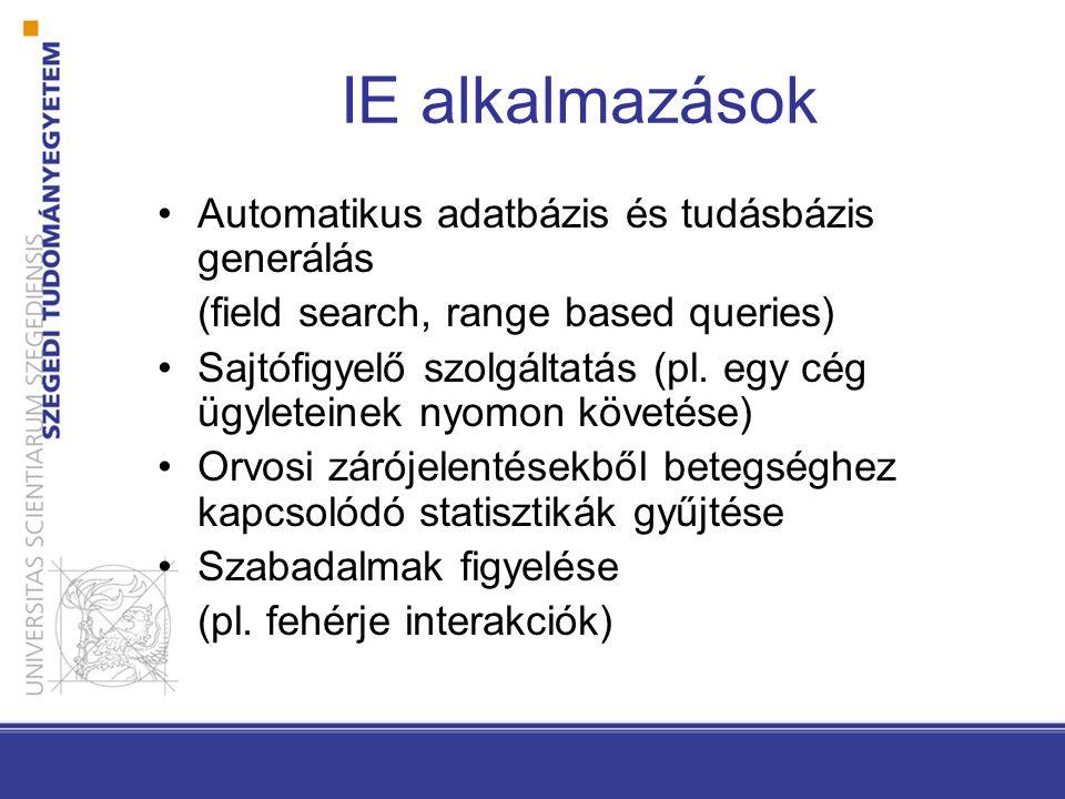 IE alkalmazások Automatikus adatbázis és tudásbázis generálás (field search, range based queries) Sajtófigyelő szolgáltatás (pl.