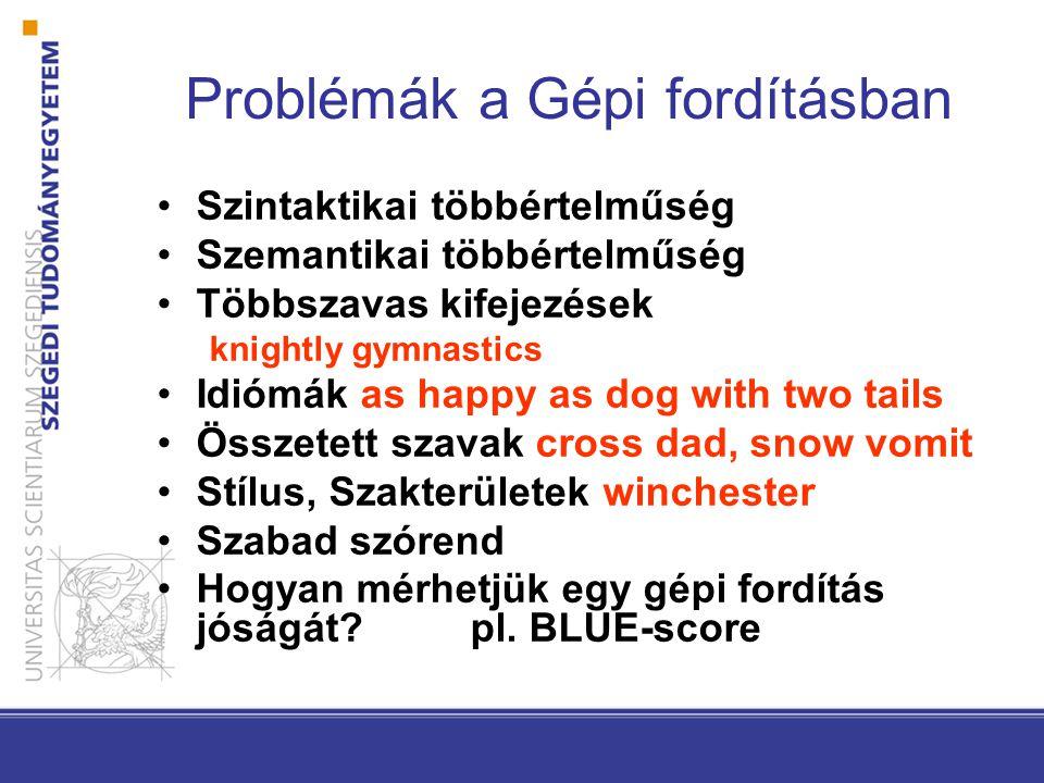 Problémák a Gépi fordításban Szintaktikai többértelműség Szemantikai többértelműség Többszavas kifejezések knightly gymnastics Idiómák as happy as dog with two tails Összetett szavak cross dad, snow vomit Stílus, Szakterületek winchester Szabad szórend Hogyan mérhetjük egy gépi fordítás jóságát.