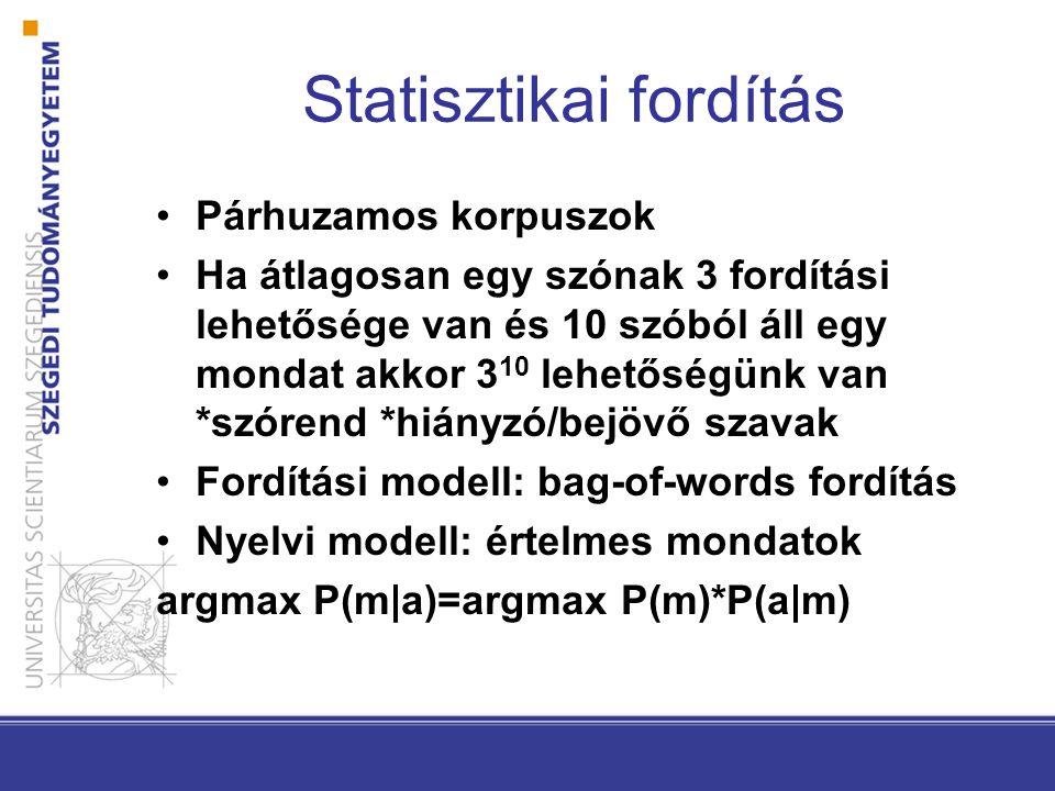 Statisztikai fordítás Párhuzamos korpuszok Ha átlagosan egy szónak 3 fordítási lehetősége van és 10 szóból áll egy mondat akkor 3 10 lehetőségünk van *szórend *hiányzó/bejövő szavak Fordítási modell: bag-of-words fordítás Nyelvi modell: értelmes mondatok argmax P(m|a)=argmax P(m)*P(a|m)