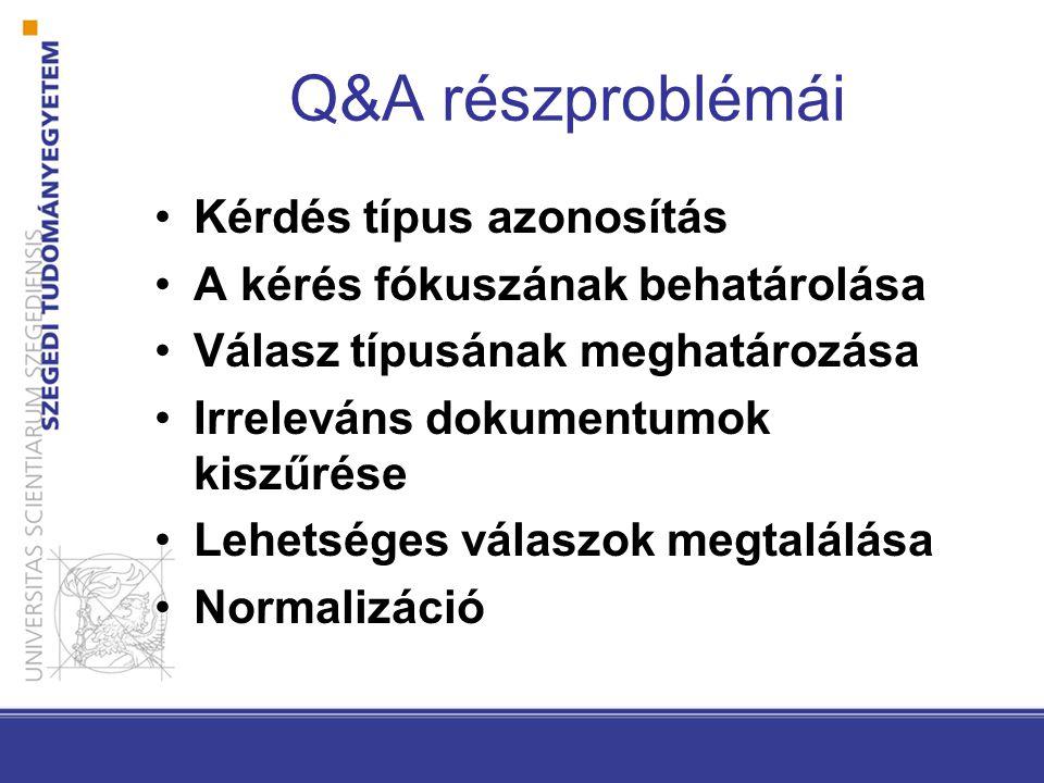 Q&A részproblémái Kérdés típus azonosítás A kérés fókuszának behatárolása Válasz típusának meghatározása Irreleváns dokumentumok kiszűrése Lehetséges válaszok megtalálása Normalizáció