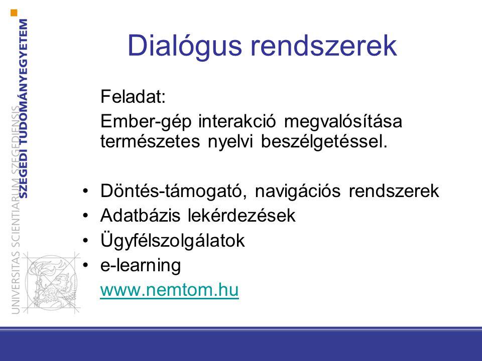 Dialógus rendszerek Feladat: Ember-gép interakció megvalósítása természetes nyelvi beszélgetéssel.