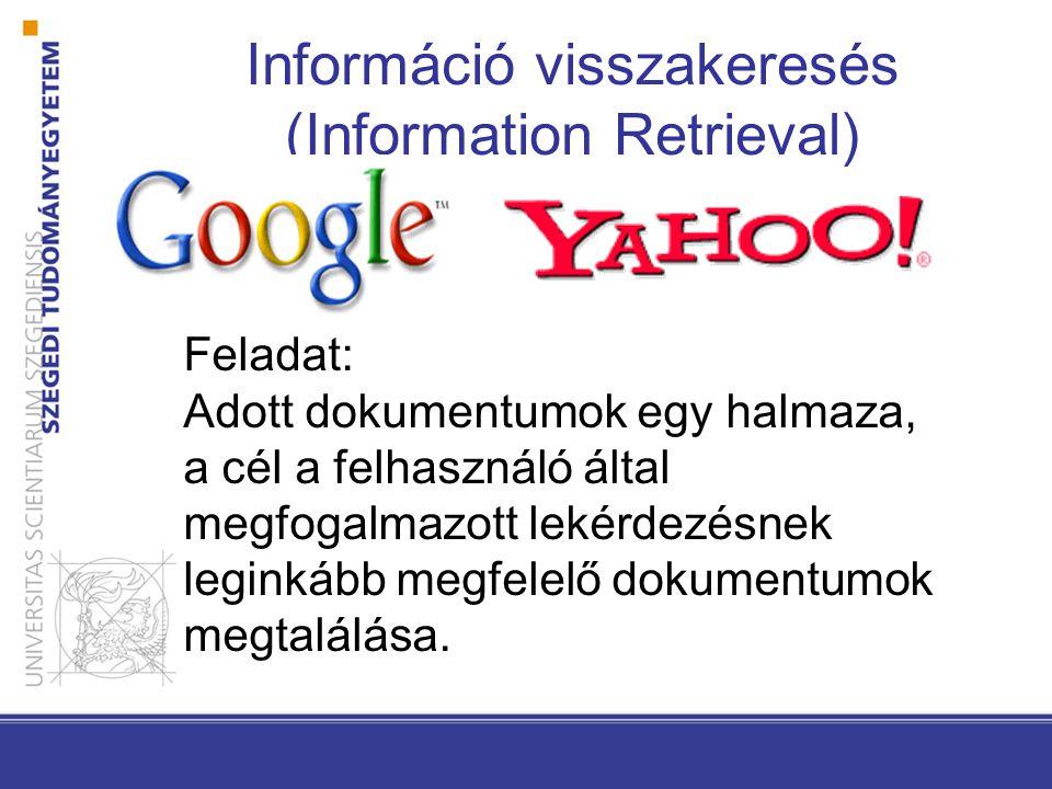 Információ visszakeresés (Information Retrieval) Feladat: Adott dokumentumok egy halmaza, a cél a felhasználó által megfogalmazott lekérdezésnek leginkább megfelelő dokumentumok megtalálása.