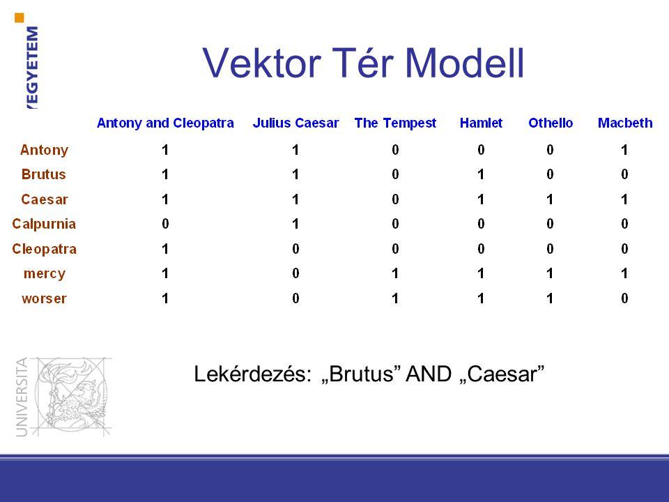 """Vektor Tér Modell Lekérdezés: """"Brutus AND """"Caesar"""