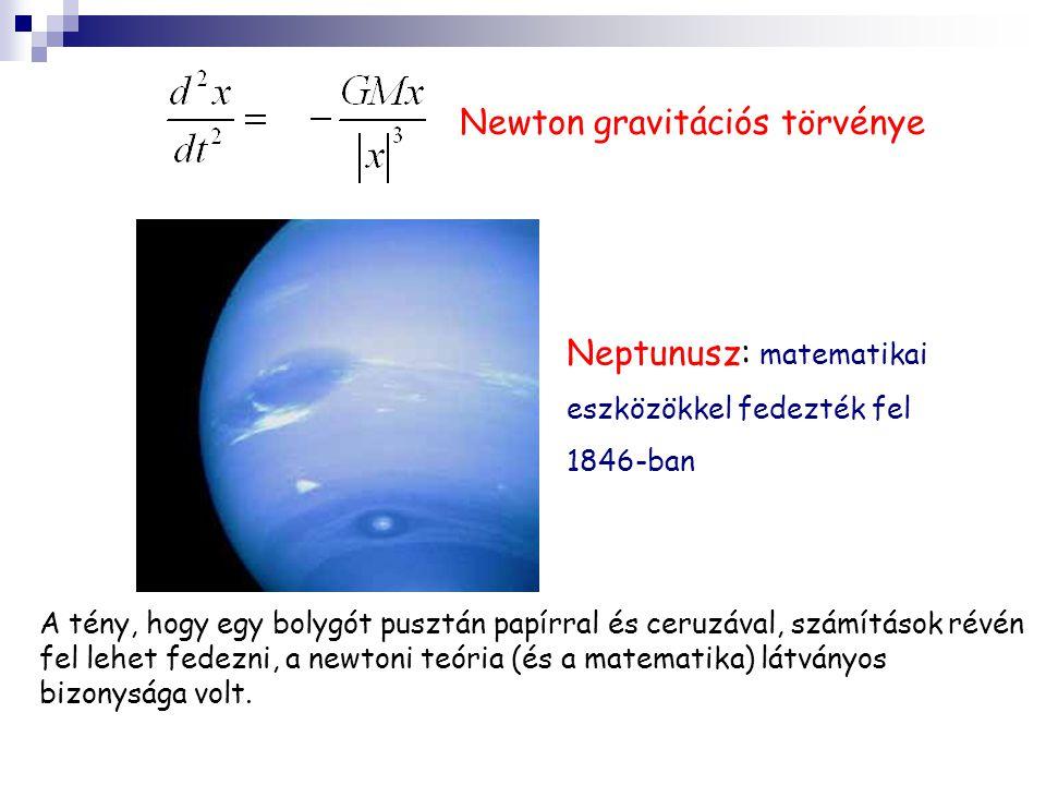 Neptunusz: matematikai eszközökkel fedezték fel 1846-ban Newton gravitációs törvénye A tény, hogy egy bolygót pusztán papírral és ceruzával, számítások révén fel lehet fedezni, a newtoni teória (és a matematika) látványos bizonysága volt.
