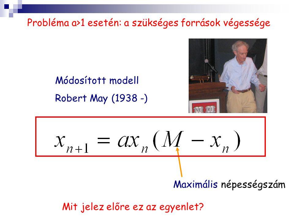 Probléma a>1 esetén: a szükséges források végessége Módosított modell Robert May (1938 -) Maximális népességszám Mit jelez előre ez az egyenlet?