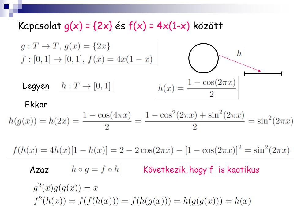 Kapcsolat g(x) = {2x} és f(x) = 4x(1-x) között Legyen Ekkor AzazKövetkezik, hogy f is kaotikus