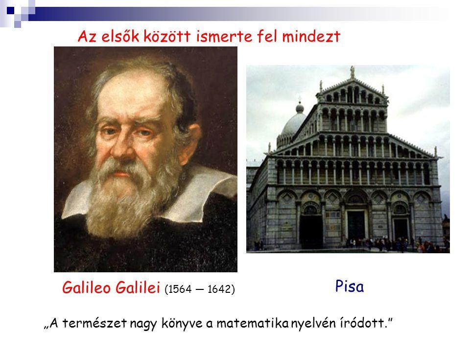 """Galileo Galilei (1564 — 1642) Pisa Az elsők között ismerte fel mindezt """"A természet nagy könyve a matematika nyelvén íródott."""""""
