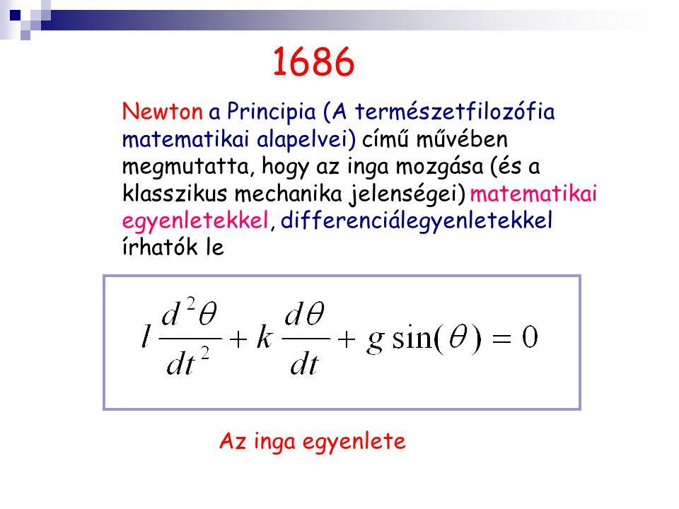 1686 Newton a Principia (A természetfilozófia matematikai alapelvei) című művében megmutatta, hogy az inga mozgása (és a klasszikus mechanika jelenségei) matematikai egyenletekkel, differenciálegyenletekkel írhatók le Az inga egyenlete