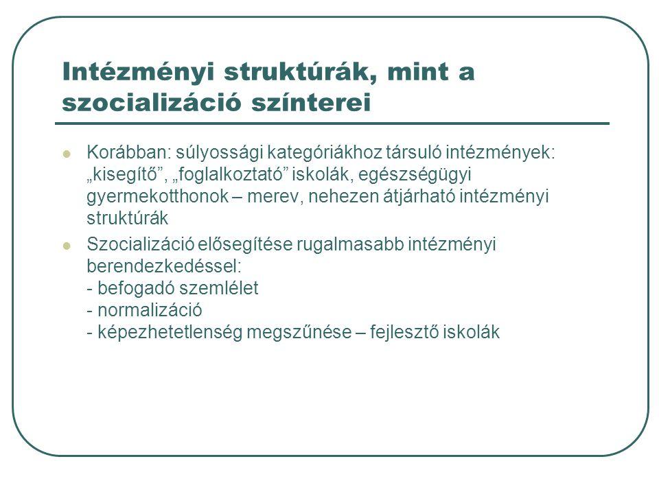 """Intézményi struktúrák, mint a szocializáció színterei Korábban: súlyossági kategóriákhoz társuló intézmények: """"kisegítő , """"foglalkoztató iskolák, egészségügyi gyermekotthonok – merev, nehezen átjárható intézményi struktúrák Szocializáció elősegítése rugalmasabb intézményi berendezkedéssel: - befogadó szemlélet - normalizáció - képezhetetlenség megszűnése – fejlesztő iskolák"""