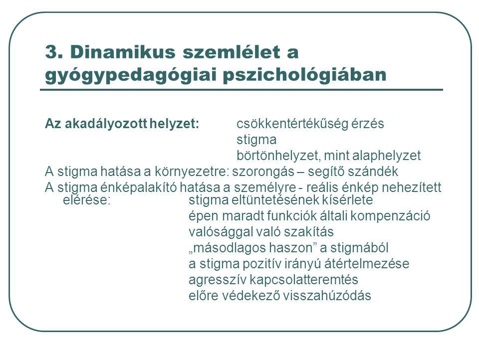 3. Dinamikus szemlélet a gyógypedagógiai pszichológiában Az akadályozott helyzet: csökkentértékűség érzés stigma börtönhelyzet, mint alaphelyzet A sti