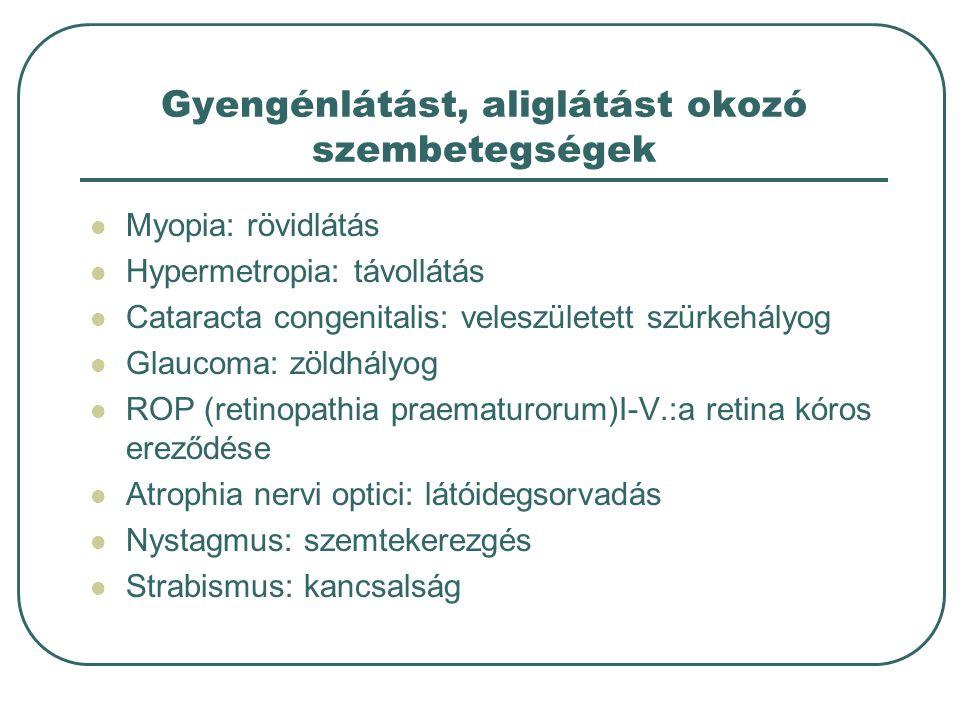 Gyengénlátást, aliglátást okozó szembetegségek Myopia: rövidlátás Hypermetropia: távollátás Cataracta congenitalis: veleszületett szürkehályog Glaucoma: zöldhályog ROP (retinopathia praematurorum)I-V.:a retina kóros ereződése Atrophia nervi optici: látóidegsorvadás Nystagmus: szemtekerezgés Strabismus: kancsalság