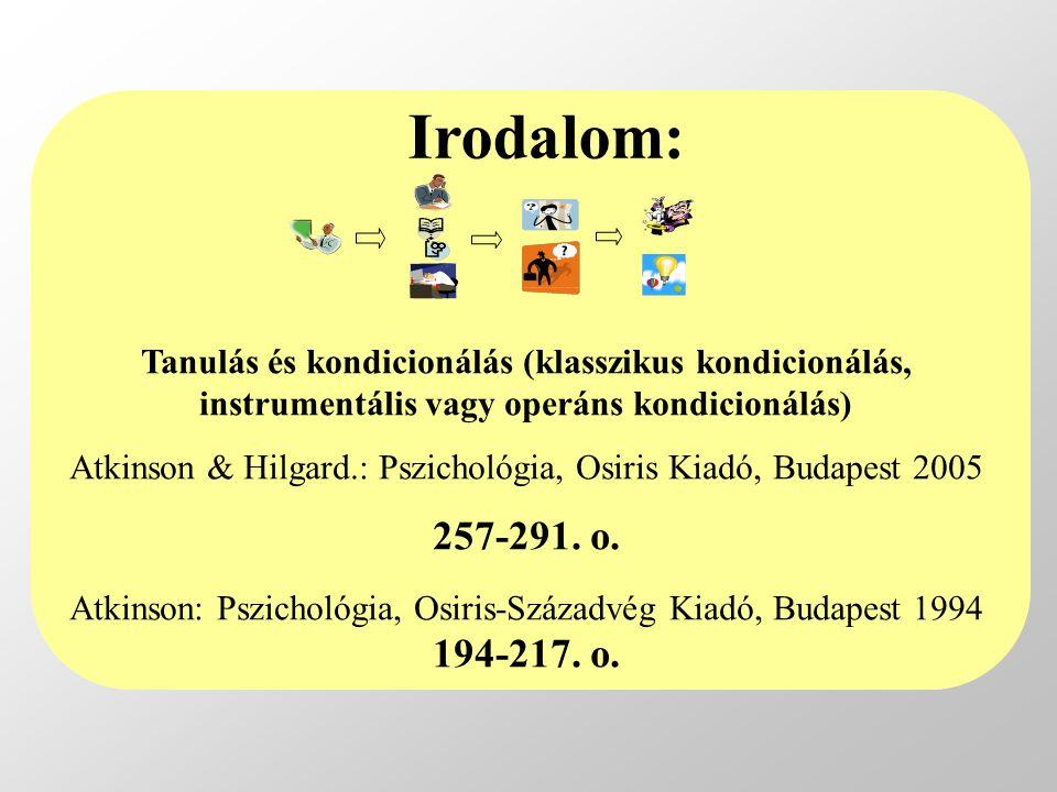 Tanulás és kondicionálás (klasszikus kondicionálás, instrumentális vagy operáns kondicionálás) Atkinson & Hilgard.: Pszichológia, Osiris Kiadó, Budape