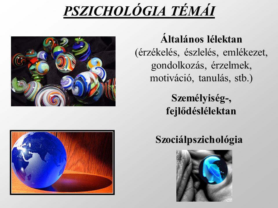 PSZICHOLÓGIA TÉMÁI Szociálpszichológia Általános lélektan (érzékelés, észlelés, emlékezet, gondolkozás, érzelmek, motiváció, tanulás, stb.) Személyisé
