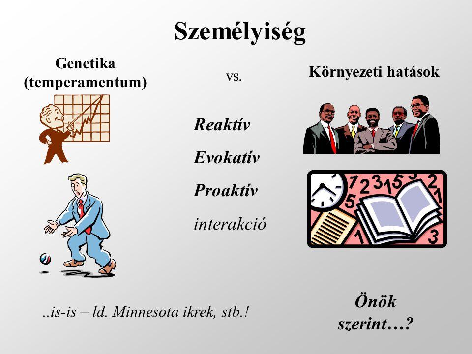 Személyiség Genetika (temperamentum) Környezeti hatások vs.