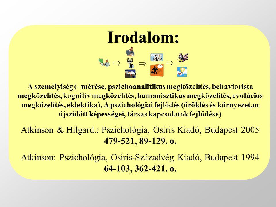 A személyiség (- mérése, pszichoanalitikus megközelítés, behaviorista megközelítés, kognitív megközelítés, humanisztikus megközelítés, evolúciós megközelítés, eklektika), A pszichológiai fejlődés (öröklés és környezet,m újszülött képességei, társas kapcsolatok fejlődése) Atkinson & Hilgard.: Pszichológia, Osiris Kiadó, Budapest 2005 479-521, 89-129.