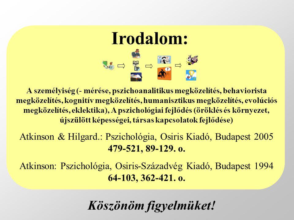 A személyiség (- mérése, pszichoanalitikus megközelítés, behaviorista megközelítés, kognitív megközelítés, humanisztikus megközelítés, evolúciós megközelítés, eklektika), A pszichológiai fejlődés (öröklés és környezet, újszülött képességei, társas kapcsolatok fejlődése) Atkinson & Hilgard.: Pszichológia, Osiris Kiadó, Budapest 2005 479-521, 89-129.