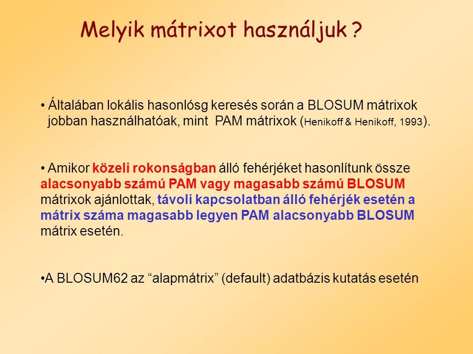 BLOSUM 50 mátrix H E A G A W G H E E P -2 -1 -1 -2 -1 -4 -2 -2 -1 -1 A -2 -1 5 0 5 -3 0 -2 -1 -1 W -3 -3 -3 -3 -3 15 -3 -3 -3 -3 H 10 0 -2 -2 -2 -3 -2