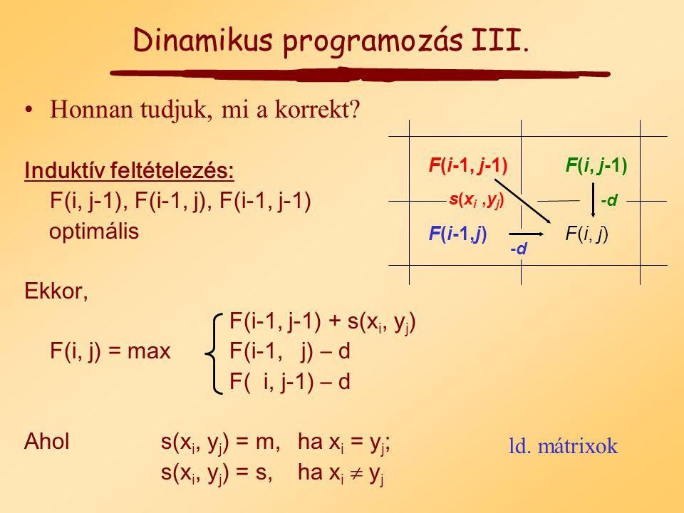 Három lehetséges eset van: 1.x i passzintható y j x 1 ……x i-1 x i y 1 ……y j-1 y j 2.x i hézaghoz illik x 1 ……x i-1 x i y 1 ……y j - 3.y j hézaghoz illik x 1 ……x i - y 1 ……y j-1 y j m, ha x i = y j F(i,j) = F(i-1, j-1) + s, ha nem F(i,j) = F(i-1, j) - d F(i,j) = F(i, j-1) - d Dinamikus programozás II.