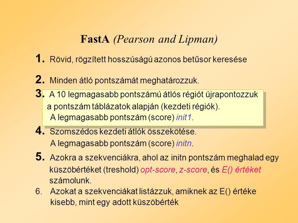 FastA Példa: 2. lépés Példa: 2. lépés Pontszám = 60 Átlók pontozása DNS: Passzol: 5 Eltérés: - 4 Protein: Pontszám mátrixok DNS: Passzol: 5 Eltérés: -