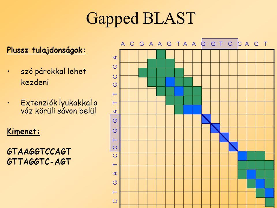 BLAST  Eredeti verzió A C G A A G T A A G G T C C A G T C C C T T C C T G G A T T G C G A Példa: k = 4, T = 4 Az illesztett szó GGTC iniciál egy alignmentet Hézagmentes extenzió balra és jobbra gaps, amíg az alignment < 50% kimenet: GTAAGGTCC GTTAGGTCC