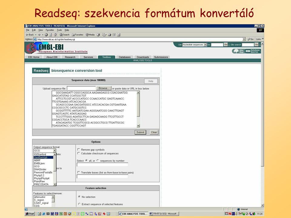 Readseq: szekvencia formátum konvertáló